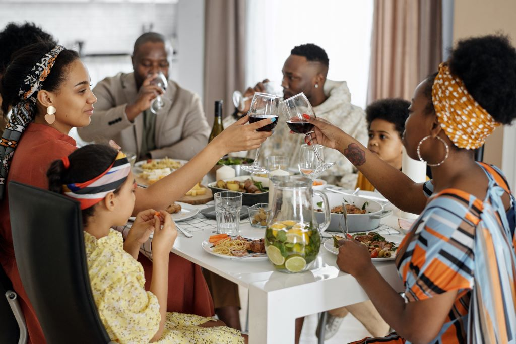 enjoying wine with friends and family
