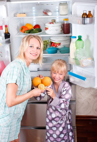 tidy and clean refrigerator in family kitchen