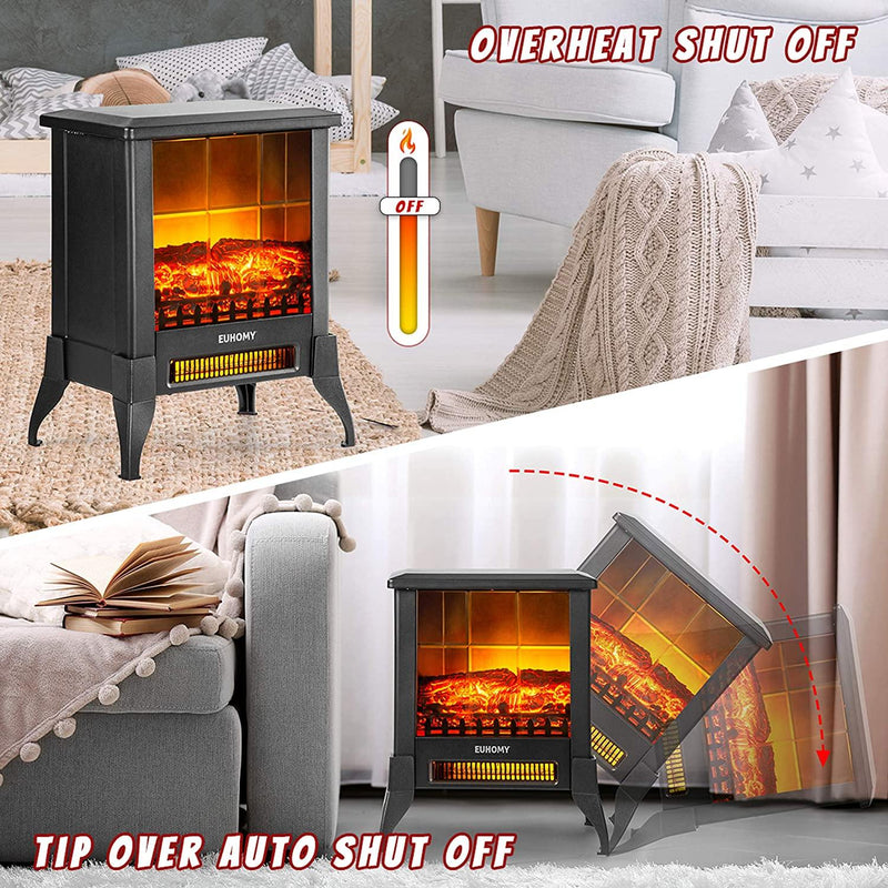 "18"" 1400W Electric Fireplace Heater with Realistic Flame Effect with Overheating Safety Protection - euhomy"