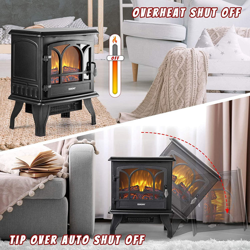 "20"" 1400W Electric Fireplace Heater with Realistic Flame Effect with Overheating Safety Protection - euhomy"