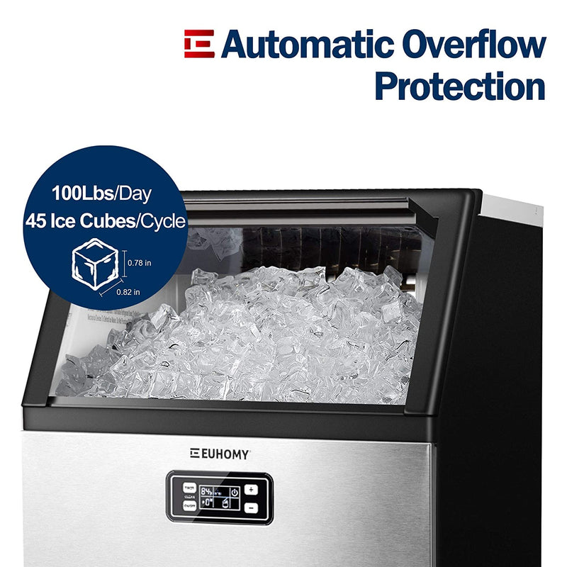 Euhomy Commercial Ice Maker 100Lbs/day