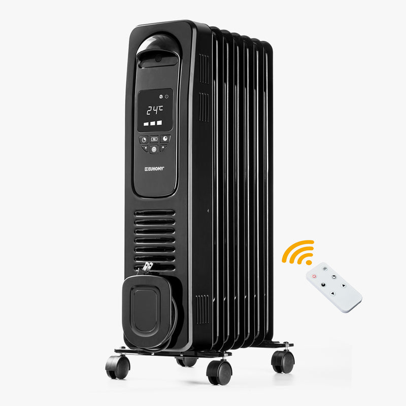 Euhomy Oil Filled Radiator Space Heater with Remote Control Black