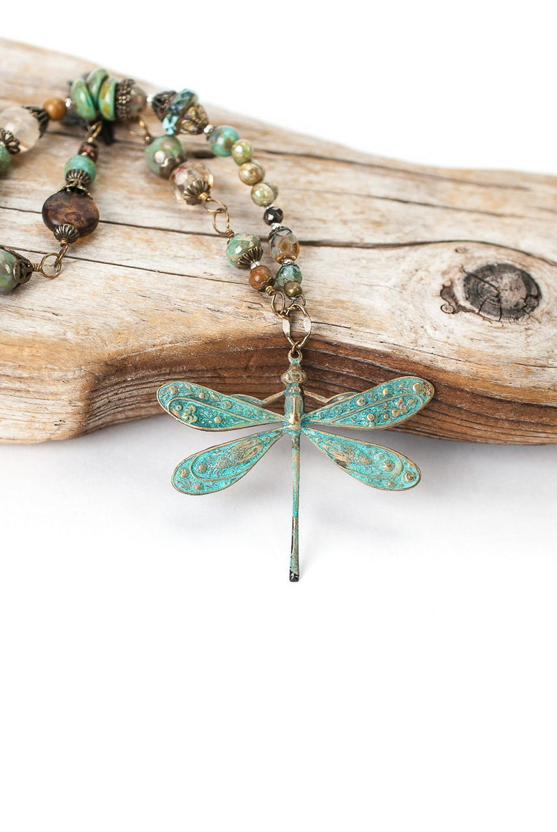 Anne Vaughan Copper Dragonfly Gemstone Necklace - The Gregarious Goose