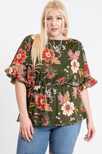 Load image into Gallery viewer, Strap Neckline W Elastic Waistband Floral Top