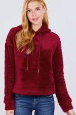 Load image into Gallery viewer, Wine Red Faux Fur Fluffy Hoodie