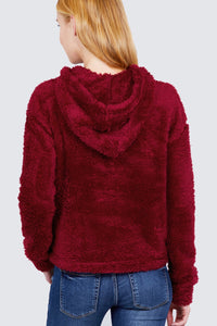 Wine Red Faux Fur Fluffy Hoodie