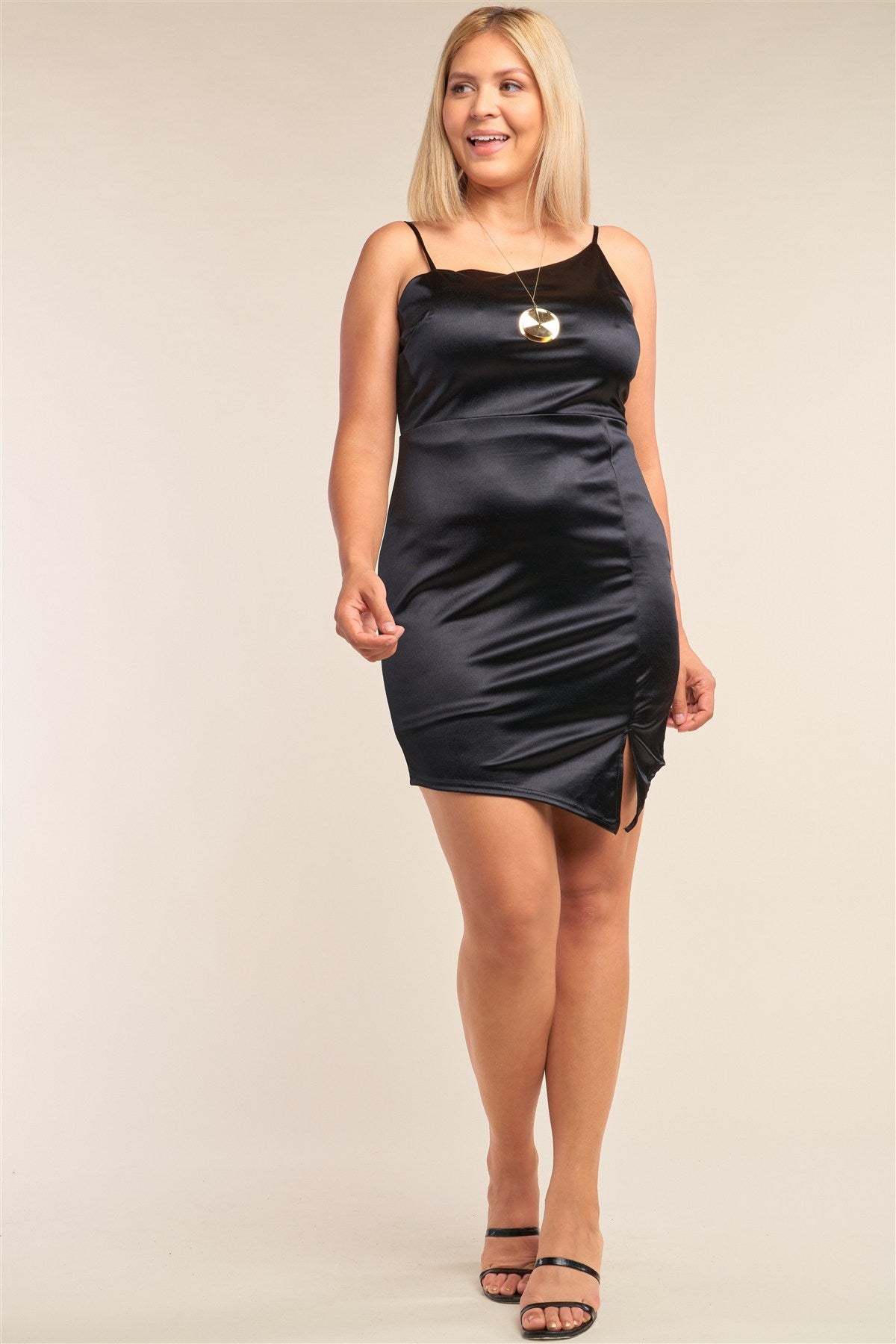 Plus Size Satin Cocktail Mini Dress