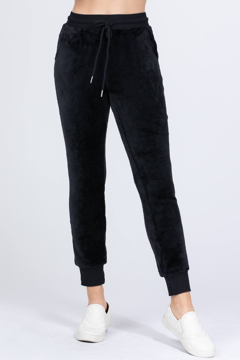 Black Faux Fur Jogger Pants