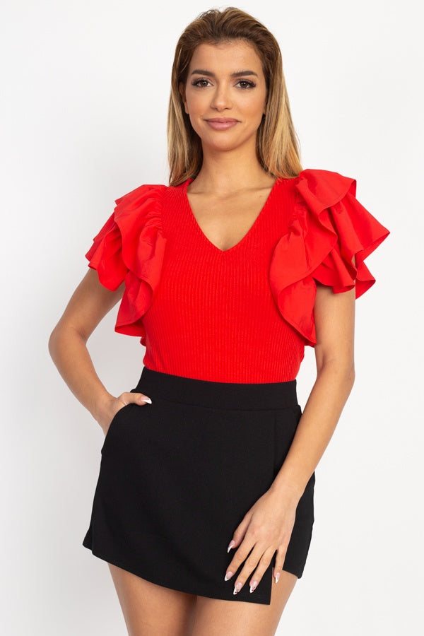 Ruffle Tiered Ribbed Top