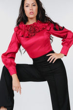 Load image into Gallery viewer, Wine Red Ruffle Neck Satin Blouse