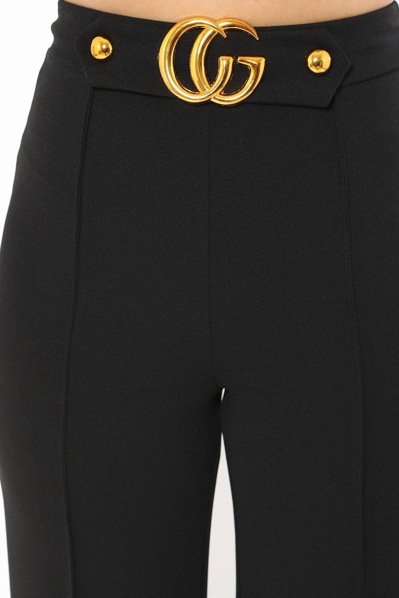 Black Cg Buckle Pants
