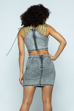 Load image into Gallery viewer, Stretchable Denim High-waist Skirt Set