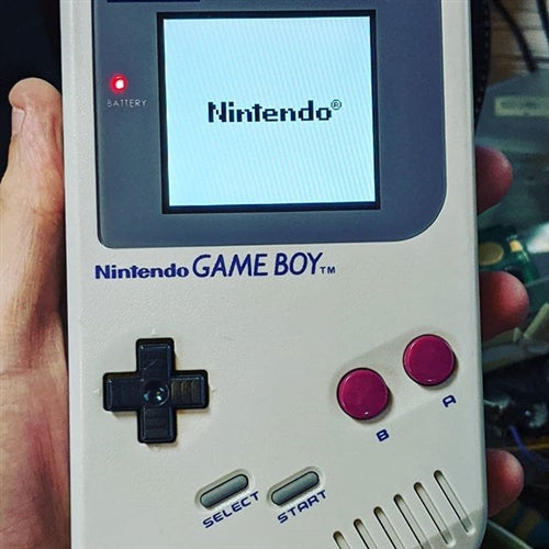 Original Game Boy with IPS mod LCD screen installed
