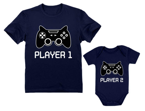 Buy the Player 1/player 2 Matching Gamer Shirts for Dad and Son