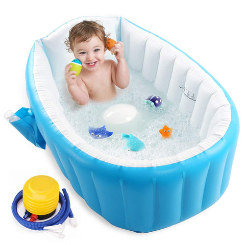 Buy the Blue Inflatable Baby Bathtub & Mini Swimming Pool