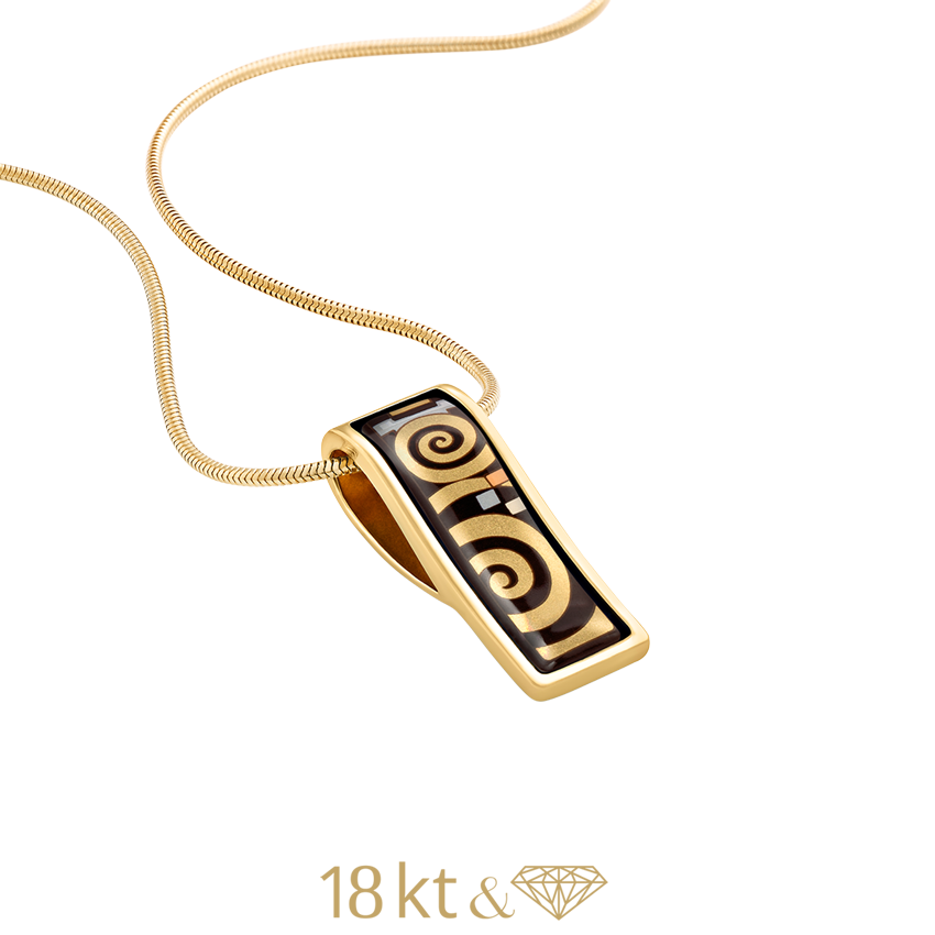 Wave Pendant, Gustave Klimt, Adele Bauer, 18K Yellow Gold