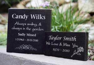 Large and small granite memorial plaque