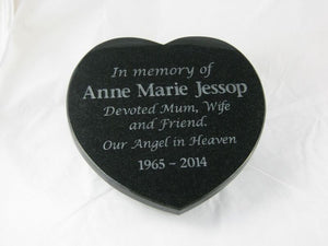 Heart shaped granite plaque - natural engraving