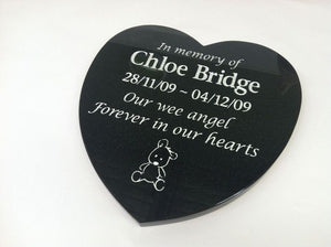 heart shaped granite plaque - silver painted engraving