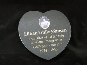 heart shaped granite plaque - gold leaf engraving and ceramic photo