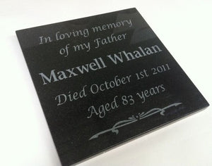 Large granite memorial plaque - natural engraving