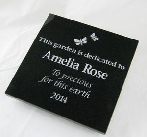 large granite memorial plaque - silver painted engraving