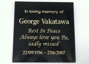 large granite memorial plaque - gold leaf engraving
