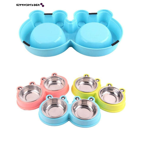 Non-slip Durable Stainless Steel Double Cat Bowls for Food &