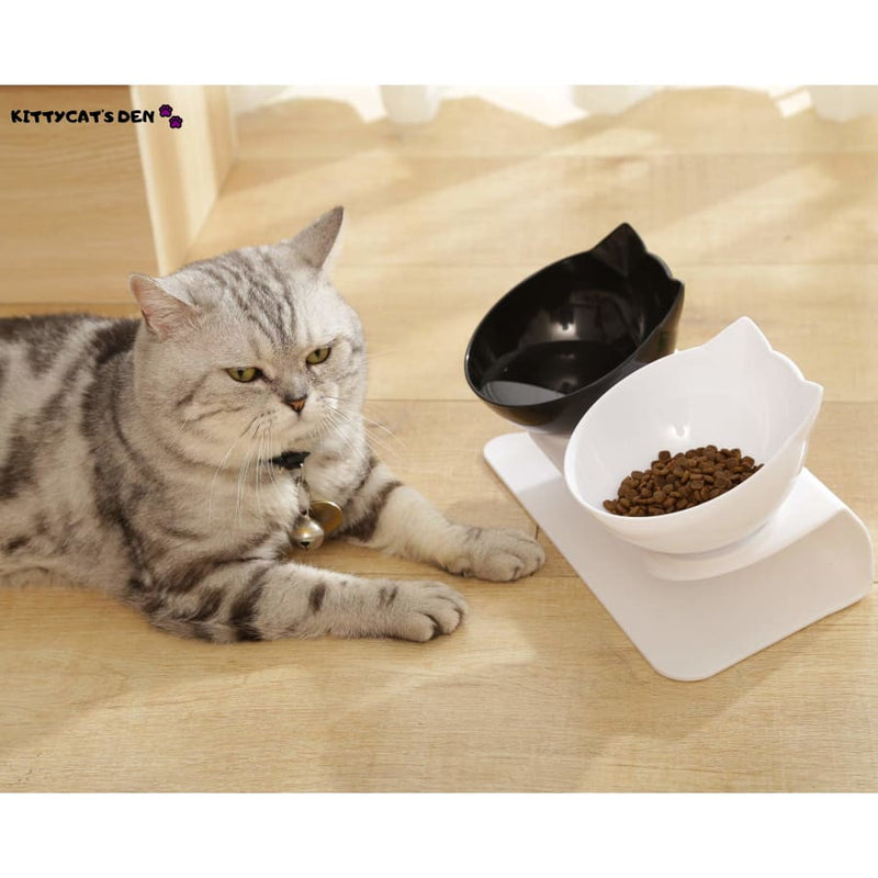 Non-slip Tilted Cat Single and Double Food/Water Bowls With
