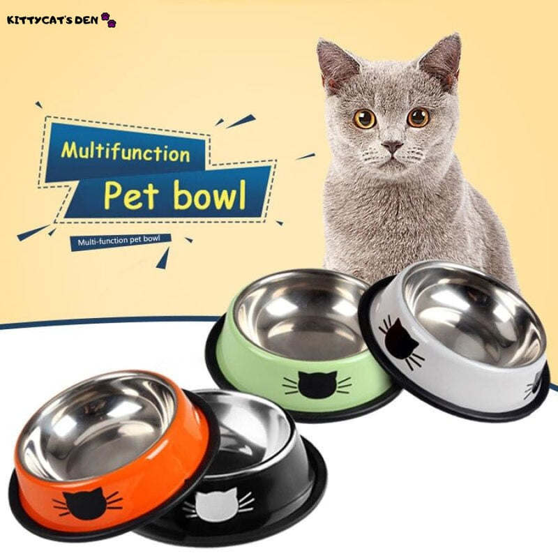 Stainless Steel Cat Bowl for Food or Water with Cartoon