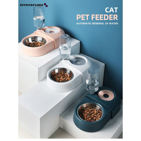 Stainless Steel Cat Food Bowl With Automatic Water Dispenser
