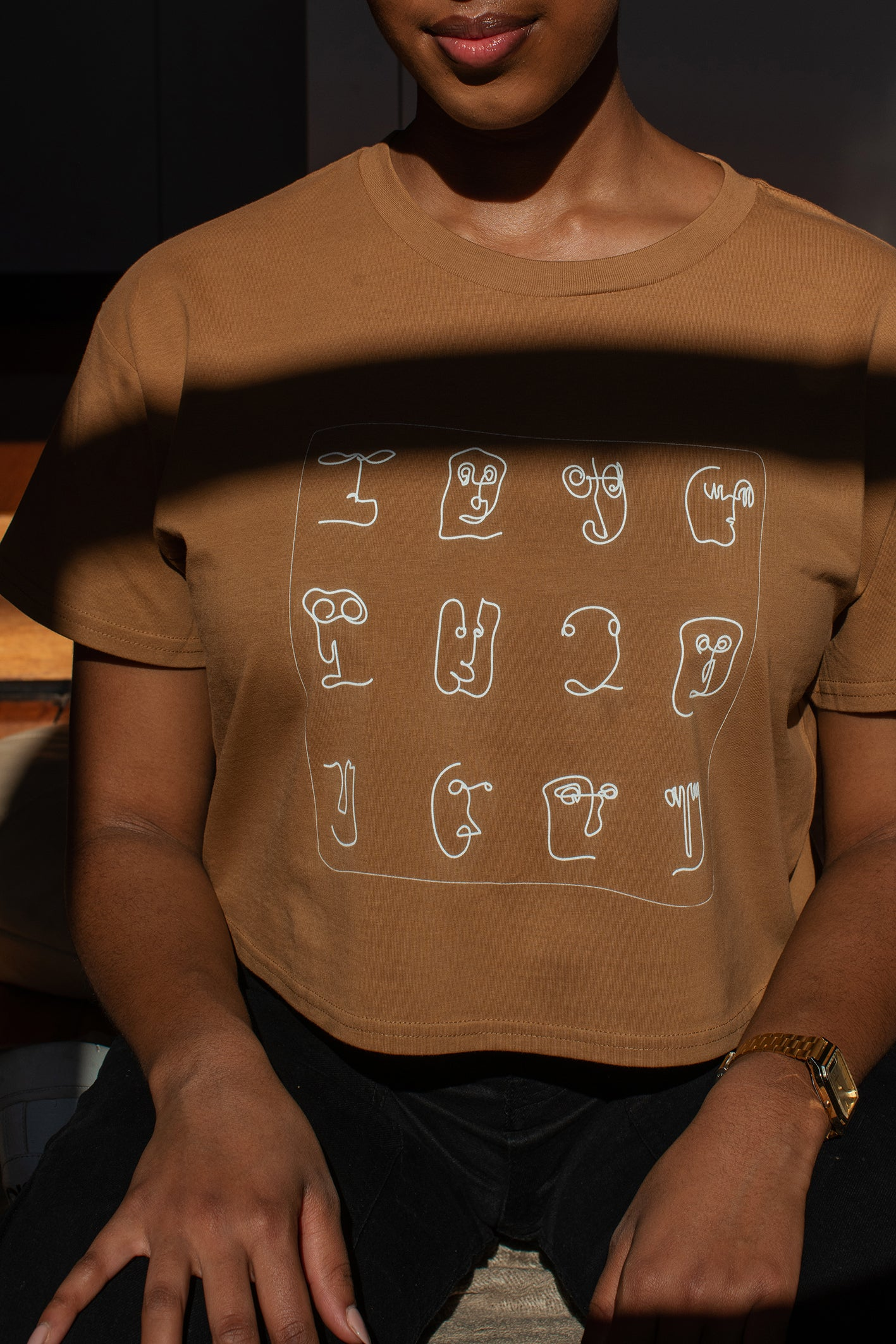 Abstract Faces Crop Tee