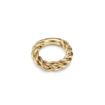 18kt certified ethical jewelry yellow gold woven Viking ring - top view