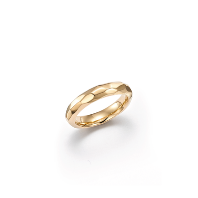 18kt Certified Sustainable Yellow Gold Wedding Band With Indentation Detail- Top View