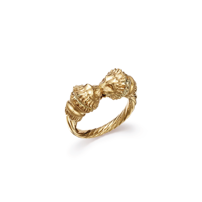 18kt certified eco friendly jewelry yellow gold ring with two lion heads-top view