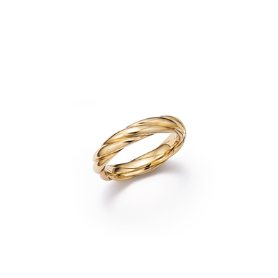 18kt certified eco friendly jewelry yellow gold wedding band with woven detail - top view
