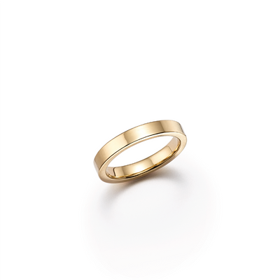 18kt certified sustainable jewelry yellow gold wedding band with smooth edge - top view