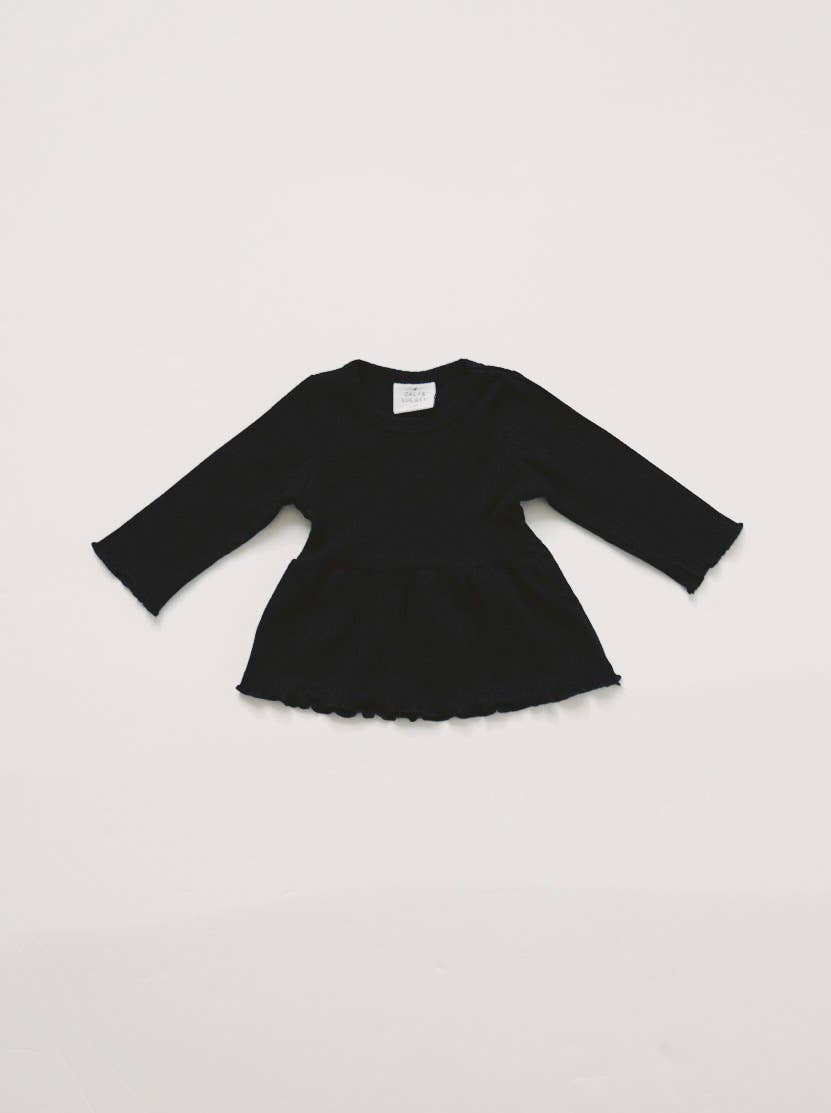 Ribbed Peplum Tee - Black