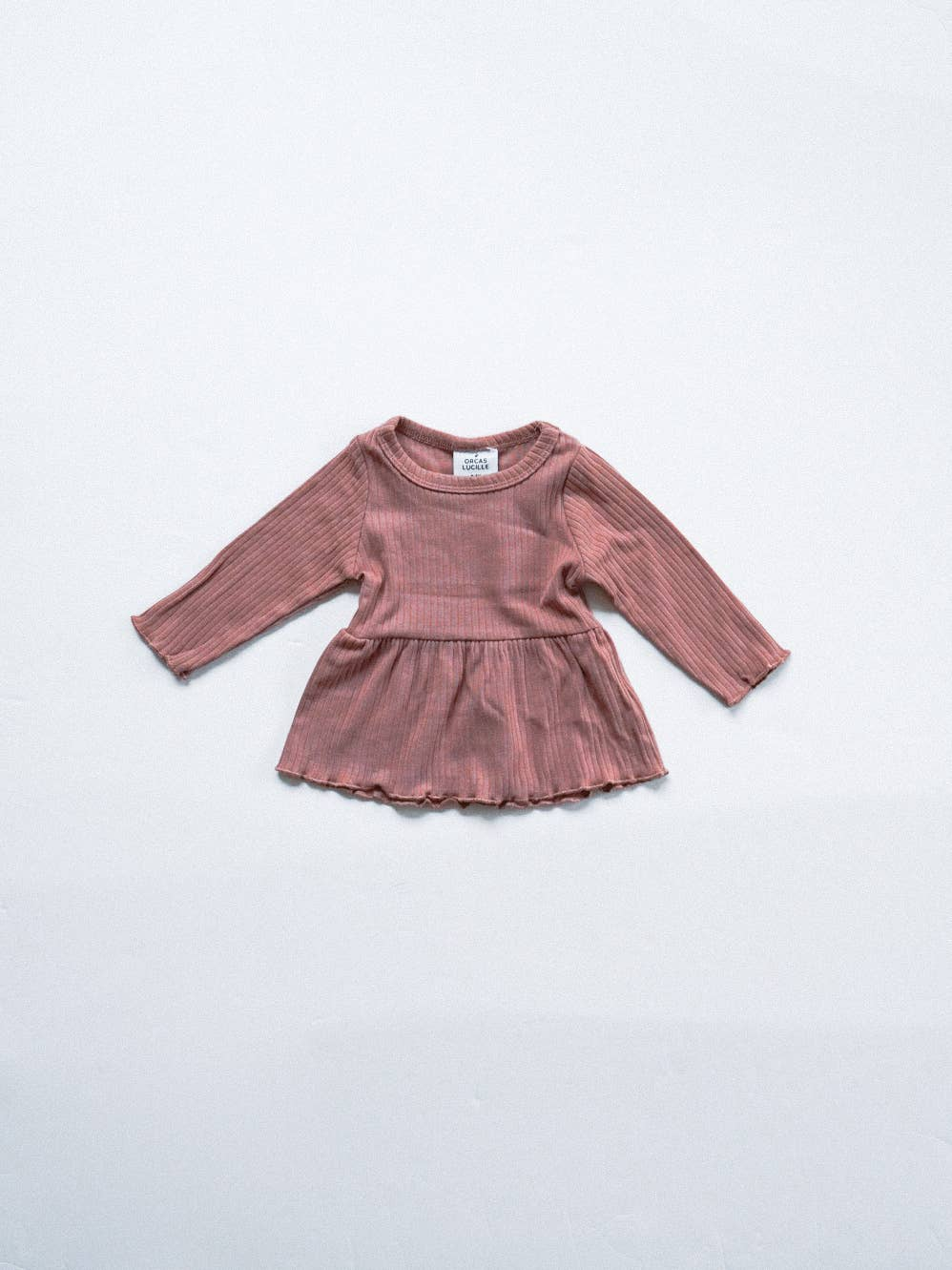 Ribbed Peplum Tee - Dusty Rose