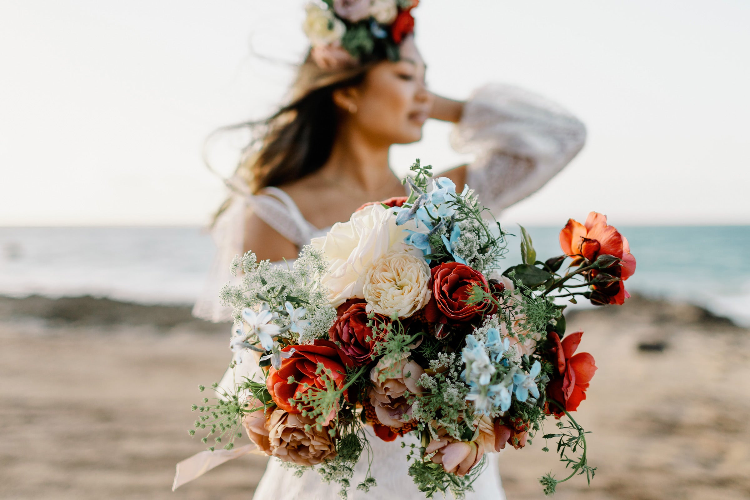 Bride with heirloom roses