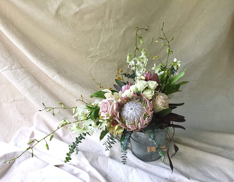 Bouquet of protea and flowers