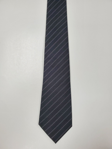 7-Fold Black Stripe Silk Tie