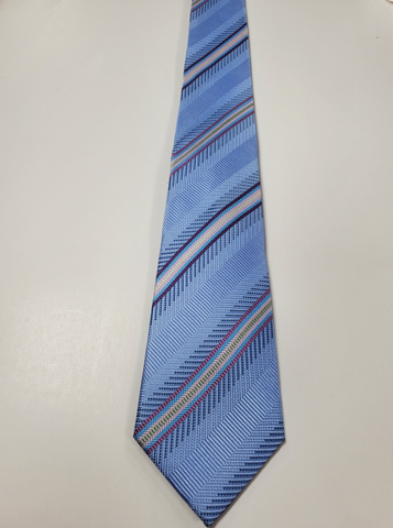 7-Fold Sky Blue Stripe Silk Tie