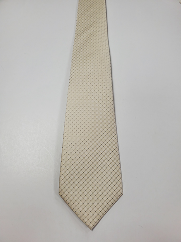 7-Fold Light Cream Dot with Thin Check Silk Tie