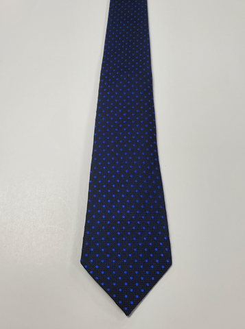 7-Fold Navy with Blue Dots Silk Tie