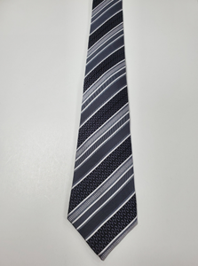 7-Fold Black and Grey Stripe Silk Tie