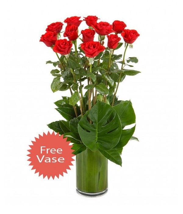 12 Long Stem Red Roses in a Glass Vase
