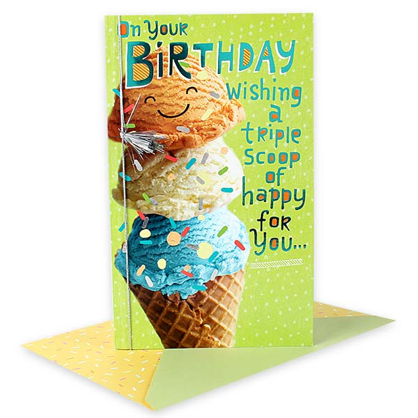 Triple Scoop of Happy BDAY Card.