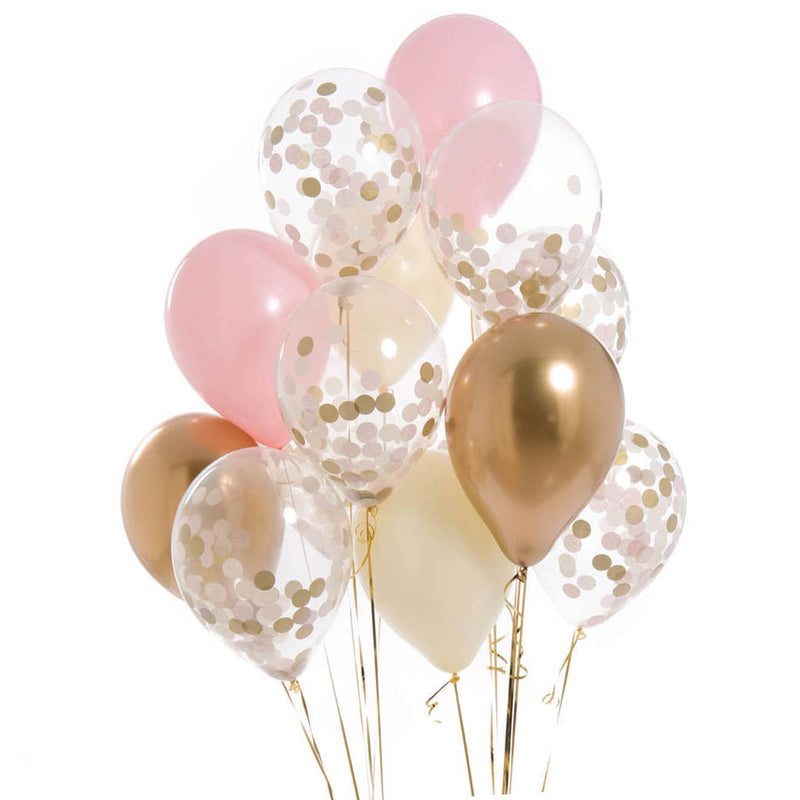 Pink and Gold Confetti Balloons