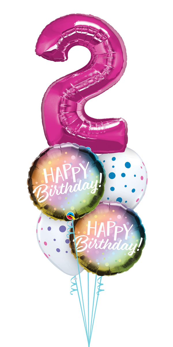 Any Number Birthday Metallic Ombre & Dots